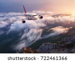 beautiful airplane is flying... | Shutterstock . vector #722461366