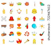 firefighter icons set. cartoon... | Shutterstock .eps vector #722467612