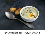 cream soup with egg and... | Shutterstock . vector #722469145