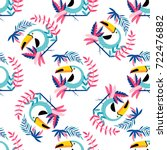tropical seamless pattern with... | Shutterstock .eps vector #722476882