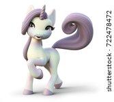 Cute Toon Fantasy Unicorn On A...