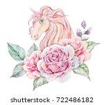 watercolor logo with unicorn ... | Shutterstock . vector #722486182