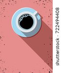 cup of coffee top view. flat... | Shutterstock .eps vector #722494408
