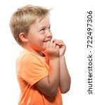 happy little boy smiling and... | Shutterstock . vector #722497306