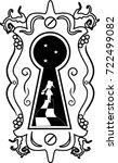 keyhole in old wooden door ...   Shutterstock .eps vector #722499082