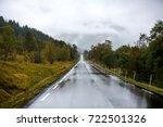 empty wet long asphalt road... | Shutterstock . vector #722501326