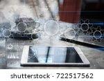gears on virtual screen....   Shutterstock . vector #722517562