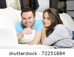 happy young couple with laptop... | Shutterstock . vector #72251884