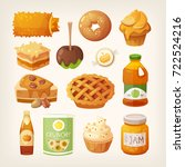 set of classic baked autumn... | Shutterstock .eps vector #722524216