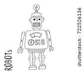cartoon vector doodle robot for ... | Shutterstock .eps vector #722526136