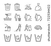 trash line icon set. included... | Shutterstock .eps vector #722534422
