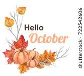 watercolor fall composition ... | Shutterstock . vector #722542606