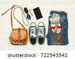 top view of women's fashion... | Shutterstock . vector #722543542