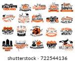 happy halloween icons set for... | Shutterstock .eps vector #722544136