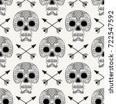 seamless vintage pattern with... | Shutterstock .eps vector #722547592