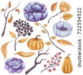 autumn floral set of watercolor ... | Shutterstock . vector #722554522