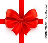realistic red bow with ribbon... | Shutterstock .eps vector #722559862