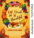 thanksgiving day greeting... | Shutterstock .eps vector #722574502