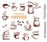 coffee cups and makers icons... | Shutterstock .eps vector #722574562