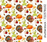 thanksgiving seamless pattern... | Shutterstock .eps vector #722578102