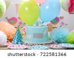 birthday party with blue cake... | Shutterstock . vector #722581366