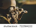 infantry soldier shooting... | Shutterstock . vector #722584222