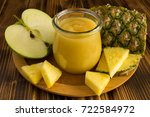 puree and ingredients on the... | Shutterstock . vector #722584972