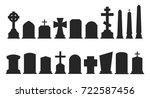 set of gravestone silhouettes... | Shutterstock .eps vector #722587456