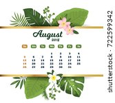 august 2018. tropical printable ... | Shutterstock .eps vector #722599342
