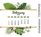 february 2018. tropical... | Shutterstock .eps vector #722599432