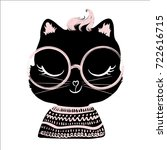 cute black cat vector design.t... | Shutterstock .eps vector #722616715