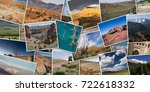 panoramic collage of photos of... | Shutterstock . vector #722618332