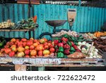 fruit and vegetables stand at a ... | Shutterstock . vector #722622472