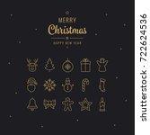 merry christmas golden... | Shutterstock .eps vector #722624536