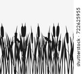 water reed plant cattails black ... | Shutterstock .eps vector #722625955