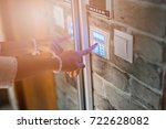 home security system. woman... | Shutterstock . vector #722628082
