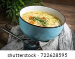 broth   chicken soup with... | Shutterstock . vector #722628595