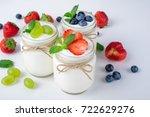 fresh yogurt. breakfast with... | Shutterstock . vector #722629276