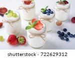 fresh yogurt. breakfast with... | Shutterstock . vector #722629312