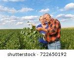 senior couple working in... | Shutterstock . vector #722650192