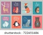 Stock vector christmas animals card set hand drawn style vector illustration 722651686