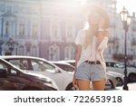 modern city girl dressed in... | Shutterstock . vector #722653918
