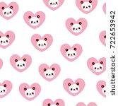 cute panda bears and hearts... | Shutterstock .eps vector #722653942