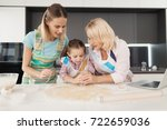 the woman  her mother and... | Shutterstock . vector #722659036