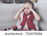 little sick girl sits on a... | Shutterstock . vector #722670406
