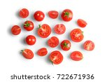 Small photo of Fresh cherry tomatoes on white background