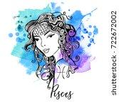 pisces. zodiac signs girl | Shutterstock .eps vector #722672002