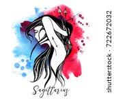 sagittarius. zodiac signs girl | Shutterstock .eps vector #722672032