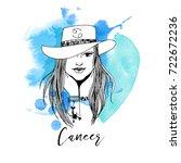 cancer. zodiac signs girl | Shutterstock .eps vector #722672236