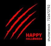 happy halloween pumpkin text.... | Shutterstock .eps vector #722672752